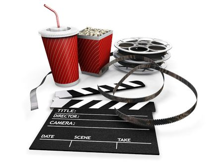 3D render of all things needed for a movie night Stock Photo - 499899