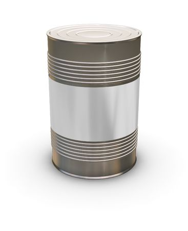 3D render of a tin can with a blank label photo