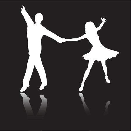 latin girl: Couple latin dancing - vector