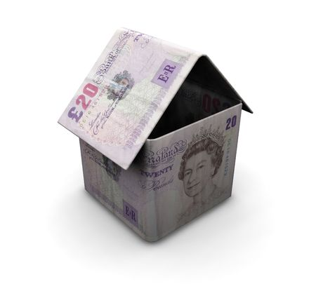 3D render of a house made from money photo