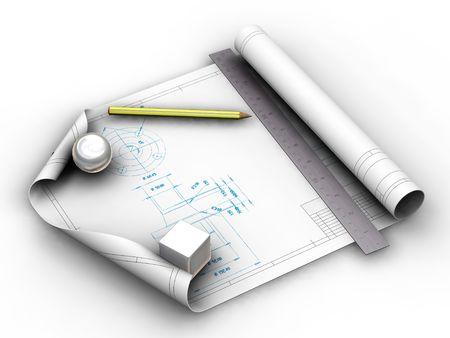 blueprint: 3D render of blueprints with pencil