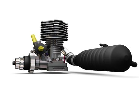 3D render of a car engine