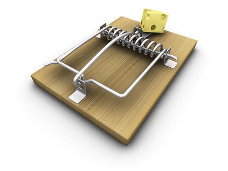 mousetrap: Rendering 3D di una trappola per topi con formaggio