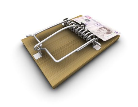 mousetrap: 3D render of a mousetrap with money on it Stock Photo