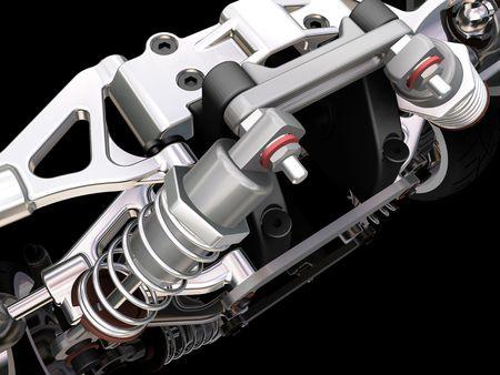 3D rendono di una sospensione dell'automobile
