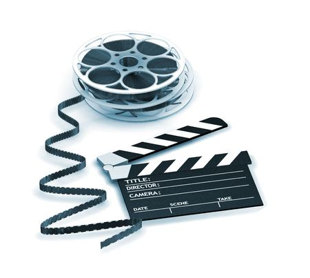3D render of a clapper board and film reels Stock Photo - 533478
