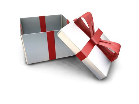 3D render of a gift box with the lid off Stock Photo