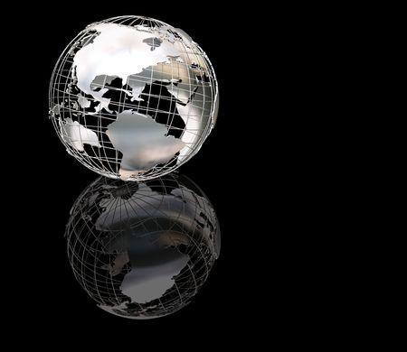 3D render of a wireframe metallic globe photo