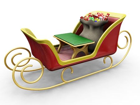 3D render of Santas sleigh with a sack of gifts Stock Photo - 533780