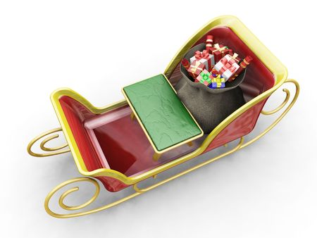 3D render of Santas sleigh with a sack of gifts Stock Photo - 533745