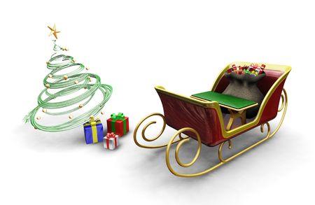 ?    ?     ?    ? �sledge: 3D hacen de Santas trineo con un �rbol de Navidad y presenta  Foto de archivo