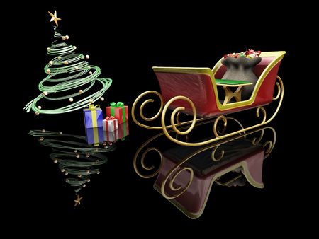 3D render of Santas sleigh, a Christmas tree and presents Stock Photo - 533747