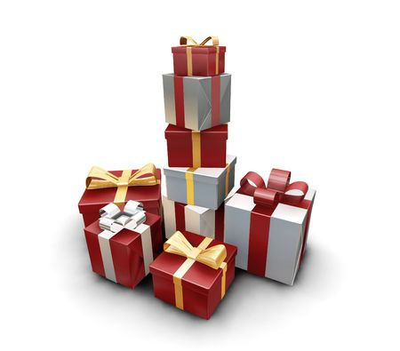 birthday religious: 3D render of a stack of wrapped gifts