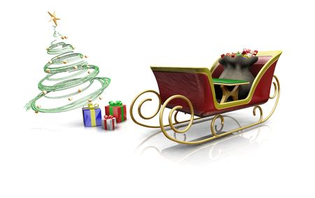 3D render of santas sleigh with presents and a Christmas tree Stock Photo - 557494