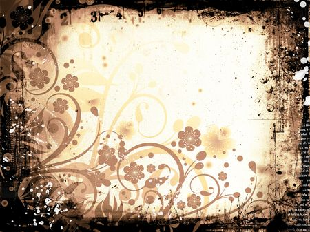 Chaotic floral grunge background photo