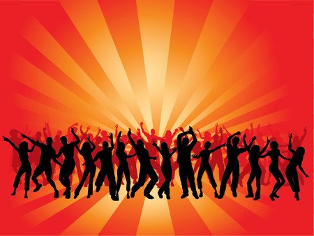 Huge party crowd, each silhouette is whole - vector Stock Vector - 559429