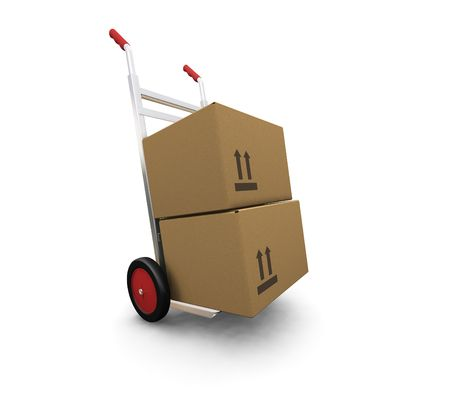 3D render of a hand truck with boxes Stock Photo - 559421