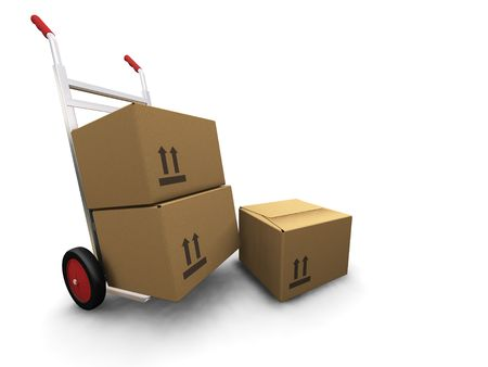 3D render of a hand truck with boxes photo