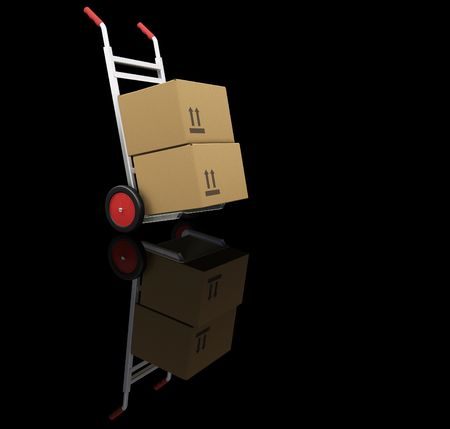 sacktruck: 3D render of hand truck with boxes