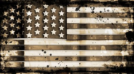 aging american: American flag on grunge background