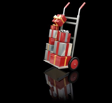 3D render of a hand truck full of Christmas presents photo