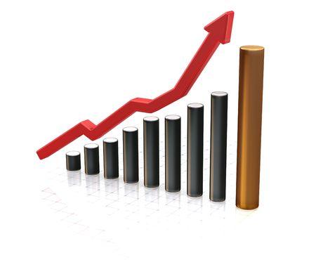 profiting: Rendering 3D di un grafico che mostra l'aumento dei profitti