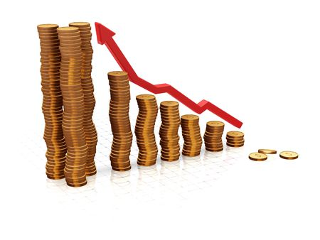 profitable: 3D render of a chart showing rising profits Stock Photo