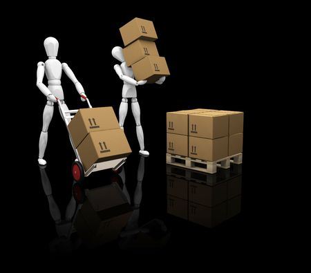 3D render of workers stacking boxes photo