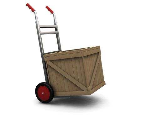 sacktruck: 3D render of a hand truck with a crate Stock Photo