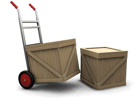 3D render of a hand truck with crates