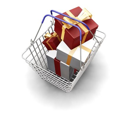 birthday religious: 3D render of a shopping basket full of Christmas presents