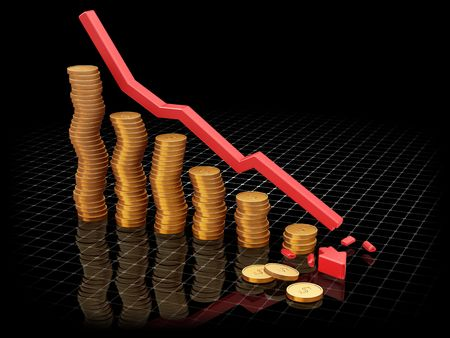 profiting: 3D render of a chart showing falling profits Stock Photo