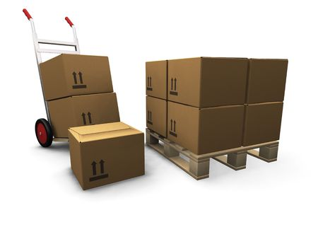sacktruck: 3D render of a hand truck and a stack of boxes Stock Photo