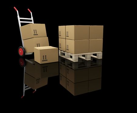 sacktruck: 3D render of a hand truck and stacks of boxes