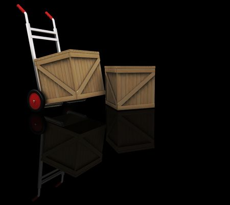 sacktruck: 3D render of a hand truck with crates