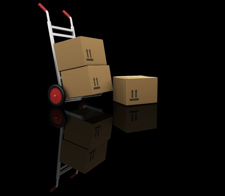 sacktruck: 3D render of a handtruck with boxes