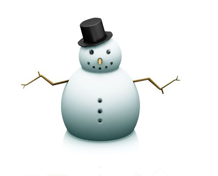 3D render of a snowman on a white background photo