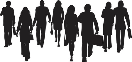 business crowd: Business people walking away - vector Illustration