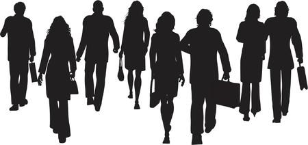caminar: Gente de negocios a pie - vector