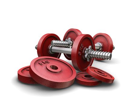muscle toning: 3D render of weightlifting weights