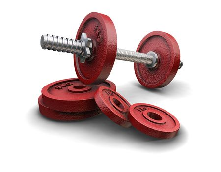 kilos: 3D render of weight lifting weights