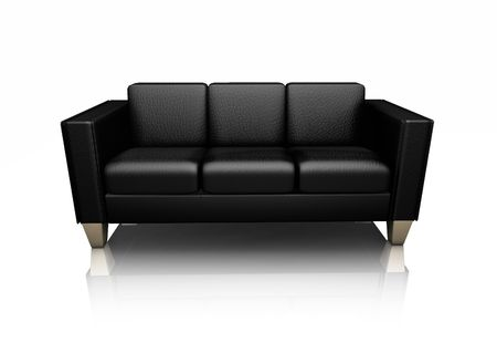 settee: 3D render of a black leather settee Stock Photo