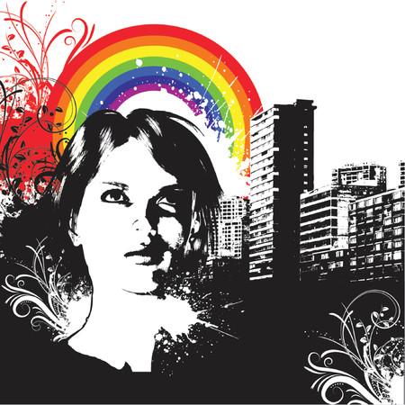 Urban grunge female - vector Vector