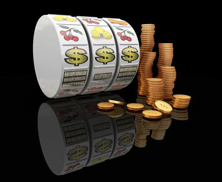 slots: 3D render of fruit machine reels with stack of gold coins