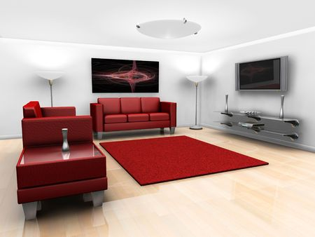 settee: 3D render of a contemporary styled minimalistic lounge with furniture