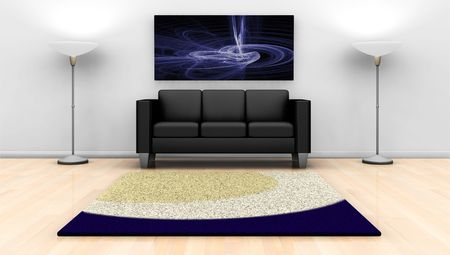 3D render of a contemporary lounge with abstract painting on wall photo