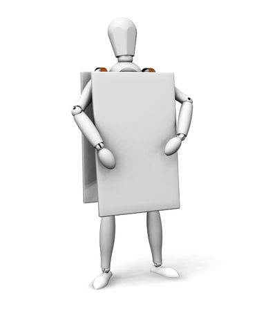 advertising board: 3D render of a wooden man wearing an advertising board Stock Photo