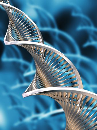 DNA strands on abstract background Stock Photo