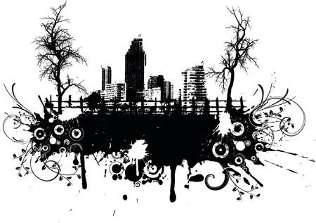 urban grunge: Urban grunge with trees - vector