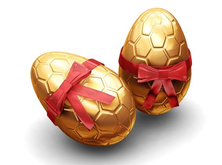 3D render of luxury Easter eggs wrapped in gold with red ribbon